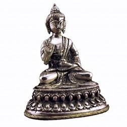 Bouddha Sakyamuni statue bronze blanc10cm