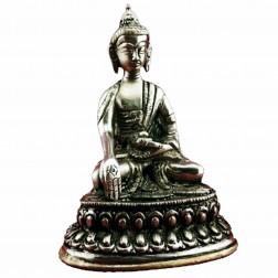 Bouddha Ratnasambhava statue bronze blanc10cm