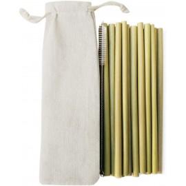 10 pailles en bambou naturel, avec brosse et sac coton