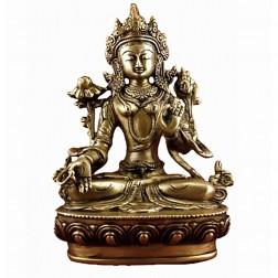 sculpture Tara Blanche Drolma statue bronze doré 20 cm Poids+/- 1670 g