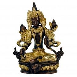 statue sculpture Tara Verte en bronze bicolore 13cm