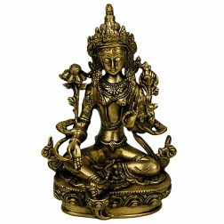 statue sculpture Tara Verte en bronze doré 20cm