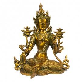 statue sculpture Tara Verte en bronze Or 26cm