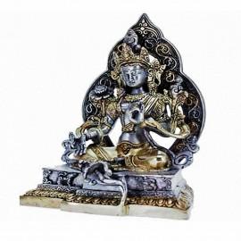 statue Tara Verte avec aura ciselée, bronze or et argent 39cm, 3770 g
