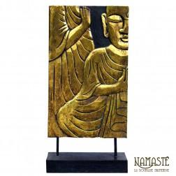 Grand panneau sculpté Bouddha 62x30cm