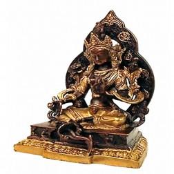 statue Tara Verte avec aura ciselée, bronze noir et or 22 cm +/- 2890 g