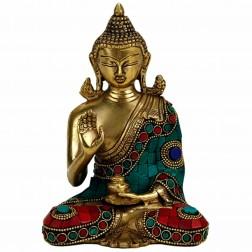 Bouddha Mudra de l'enseignement , 16cm mosaïques en pierre