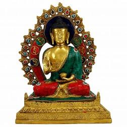 Bouddha Sakyamuni sur le Trône mosaïques en pierre 30 cm