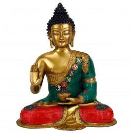 Bouddha Mudra de l'enseignement , 43cm mosaïques en pierre