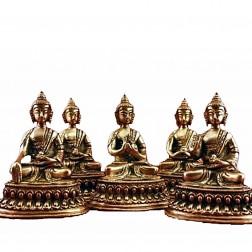 Les cinq Dhyani Bouddhas 5 statues bronze 10cm