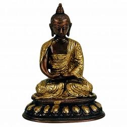 Bouddha Amitabha statue bronze bicolore 15cm