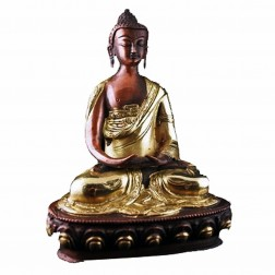 Bouddha Amitabha statue bronze bicolore laiton et cuivre 20cm