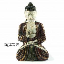 Bouddha thaïlandais polychrome en bois sculpté à la main.