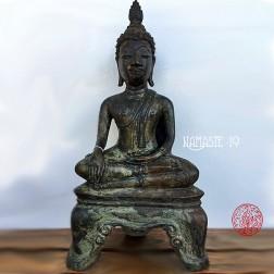 Magnifique Bouddha ThailandaisSukhothai en bronze à patine verte